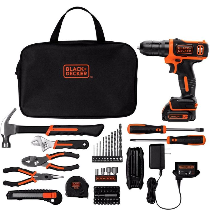 Be prepared to tackle home improvement tasks with the BLACK+DECKER 12-Volt MAX Lithium Ion Cordless Drill-Driver with 64-Piece Project Kit. You are bound to have the right tool to complete the job. In addition to the 12-volt drill, the set comes with 47 power accessories, including drill bits and a power cord. It also features 16 commonly used hand tools such as a hammer, pliers, and screw drivers. Store all of the tools together in the convenient storage bag, and carry them with you using…