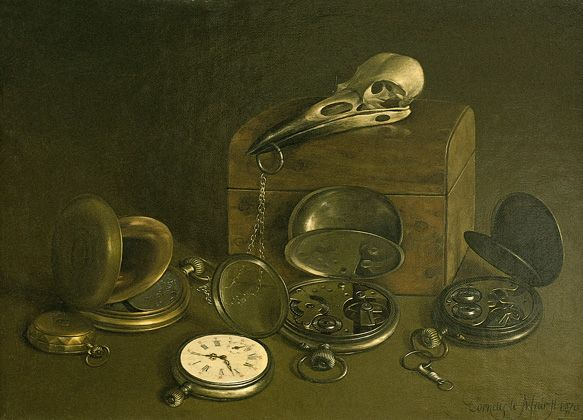 Stilleven met oude horloges