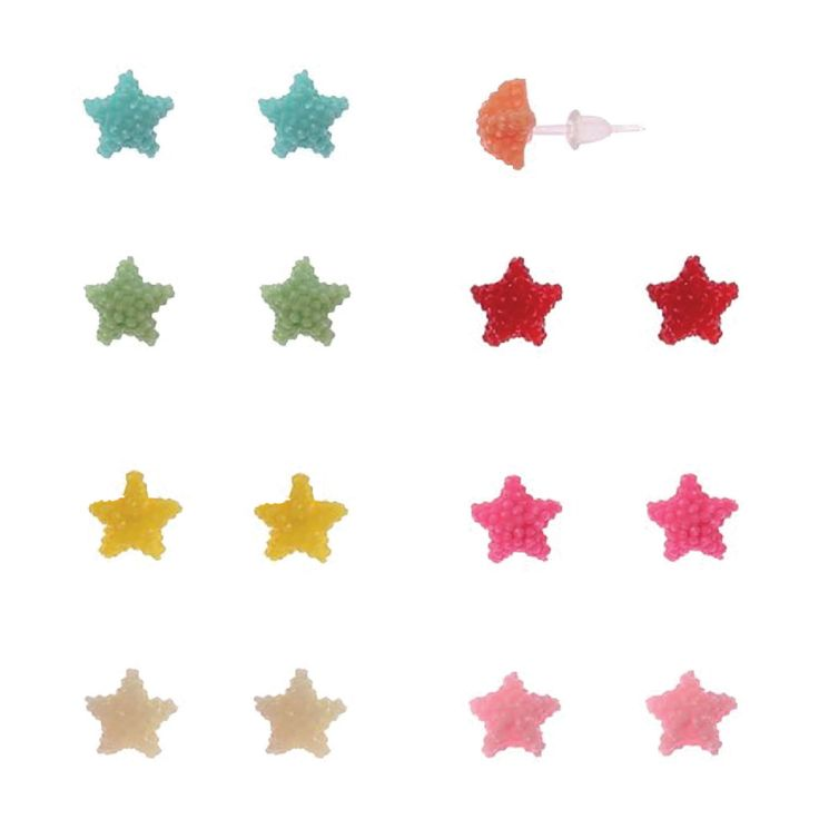 Fashion Earring Lot of 8 Pairs Neon Color Acrylic Sparkle Star Studs