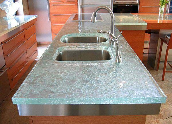 Glass Kitchen Countertops | Glass kitchen countertops, double sink and contemporary faucet, modern ...