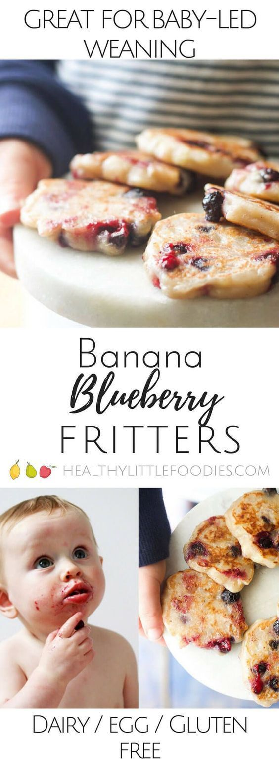 Banana Blueberry Fritters. Only 3 ingredients . Dairy free, gluten free and egg free and no refined sugar. Great for kids and for baby led weaning. via @hlittlefoodies
