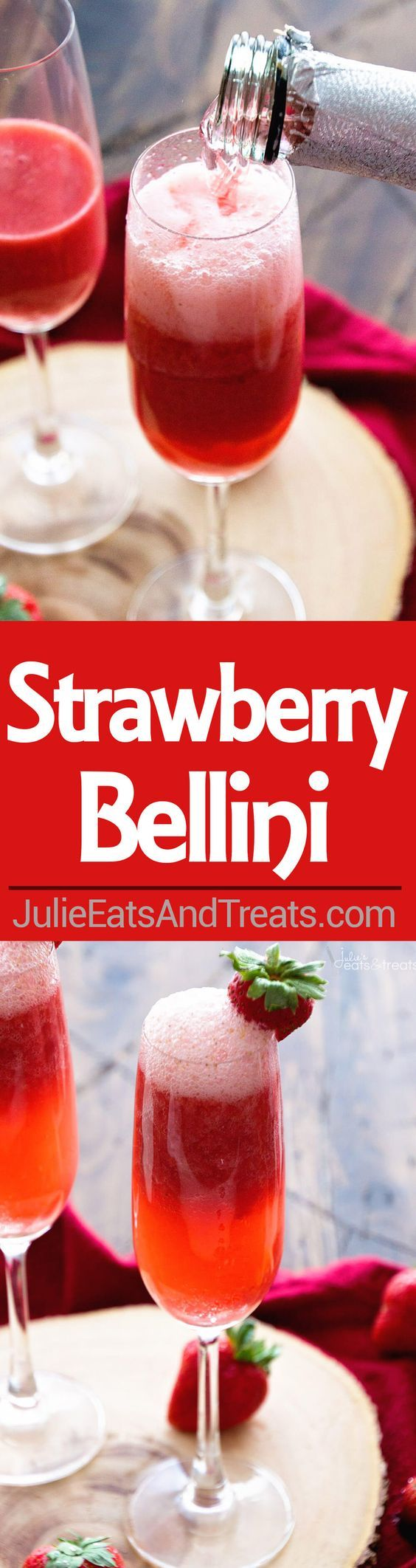 Strawberry Bellini Recipe ~ delicious, easy Bellini recipe perfect for celebrating...fresh strawberries, brandy and sparkling moscato make this a festive drink!