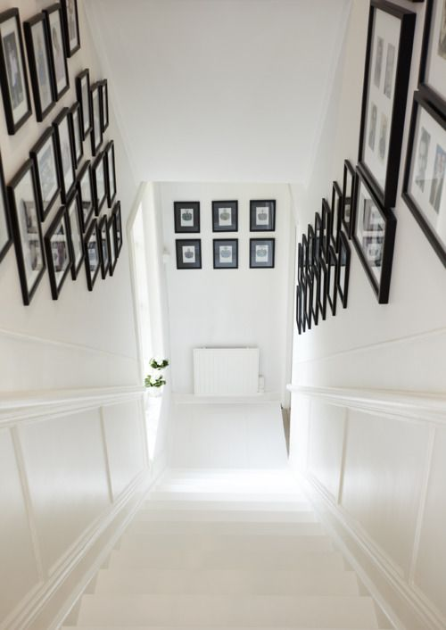 maybe only one one side?: Decor, Picture, Interior, Stairs, Black And White, Black Frames, Black White, Design