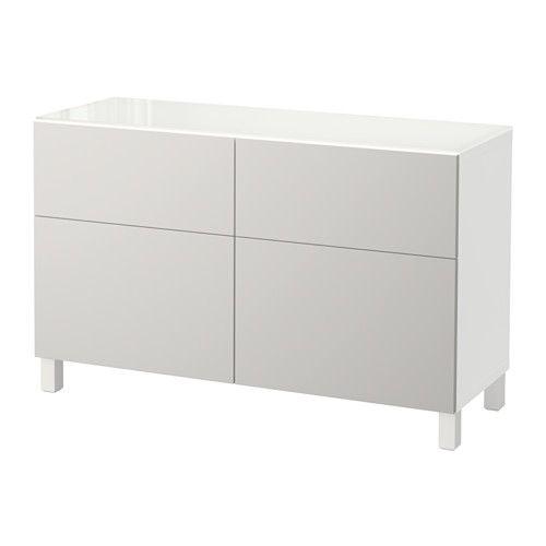 BESTÅ Storage combination with drawers - white/Lappviken light gray, drawer runner, soft-closing - IKEA