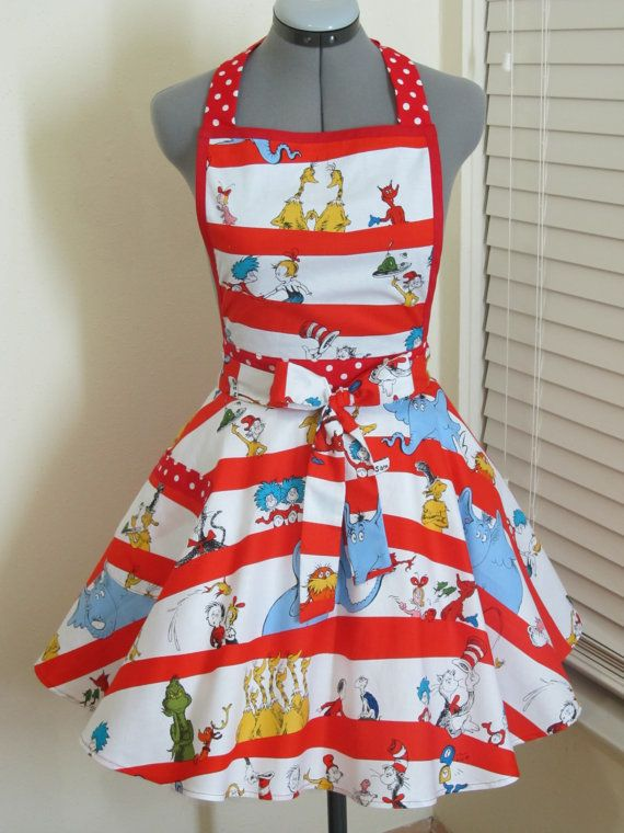 Dr Seuss and friends Apron with a hint of red  by AquamarCouture, $37.00