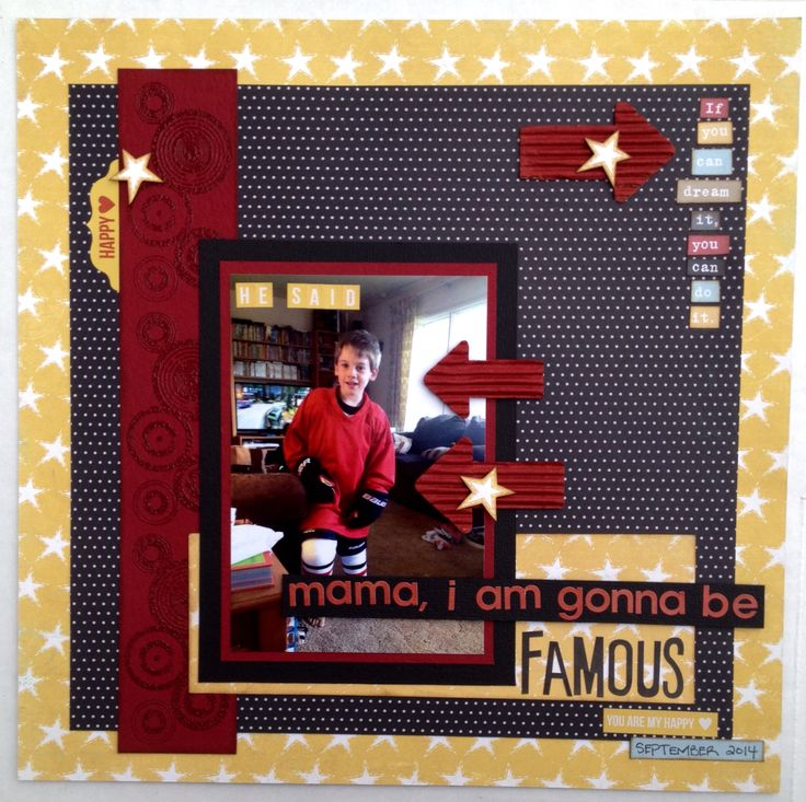 Hockey Layout using Simple Stories Say Ceese line and Bella Blvd Halloween collection. Great lines for boy layouts!