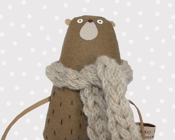 Tiny Teddy Bear with Grey Scarf Miniature Stuffed Bear by poosac