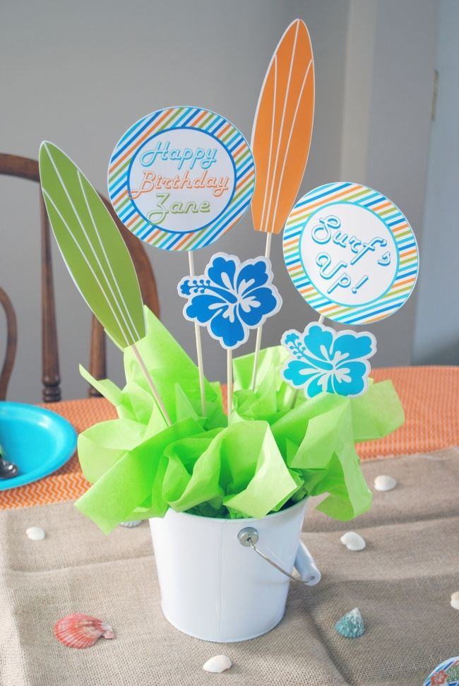 boy's surfs up birthday party centerpieces www.spaceshipsandlaserbeams.com