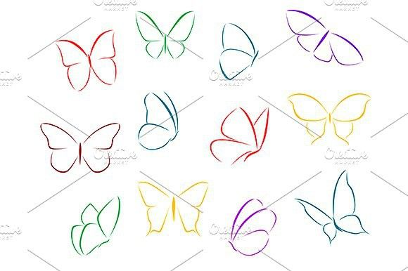 Butterflies Color Silhouettes Tiny Butterfly Tattoo Simple Butterfly Tattoo Butterfly Drawing