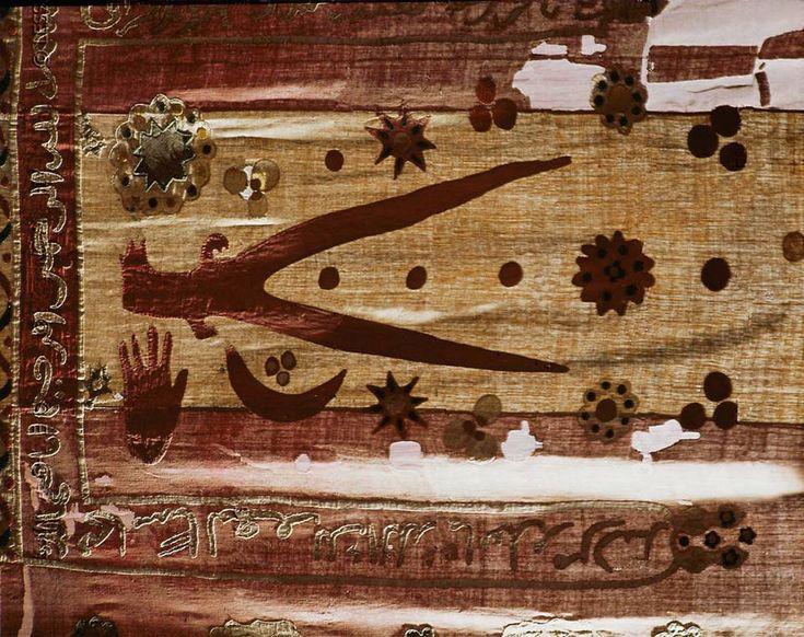 Ottoman period Turkish flag, second half 16th century. Red silk, yellow silk applications. Ali's sword (D'hul Faqar) in the center, moon and stars.-Wien Museum Karlsplatz, Vienna, Austria
