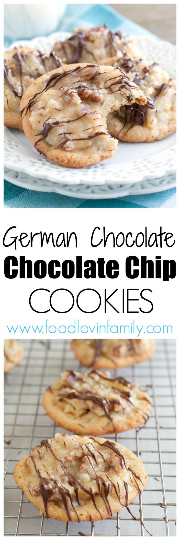 German Chocolate Chocolate Chip Cookies - Chewy chocolate chip cookies topped with an incredible pecan-coconut frosting will remind you of German Chocolate cake.