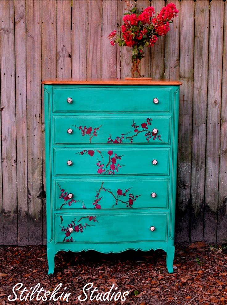 Fab Turquoise Dresser With Cherry Blossoms Stencil Stiltskin Studios