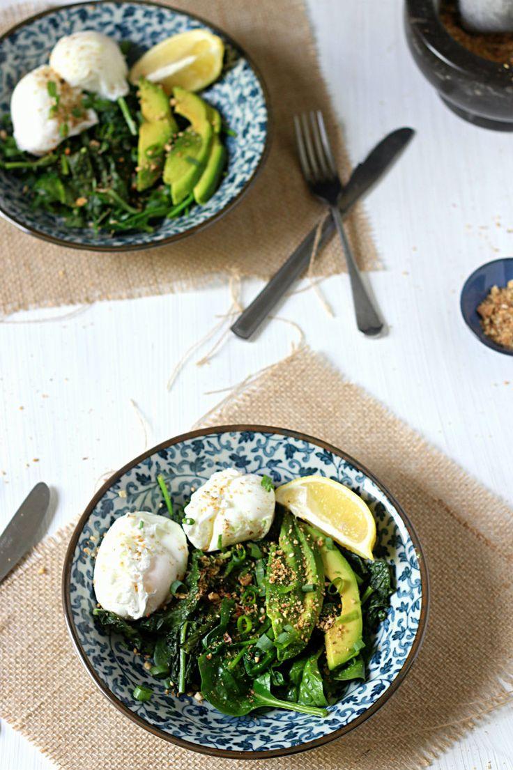 Greens + eggs breakfast bowl w/ homemade dukkah.