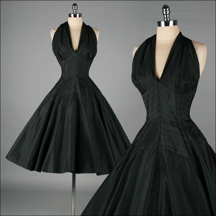 Vintage 1950s Black Halter Dress