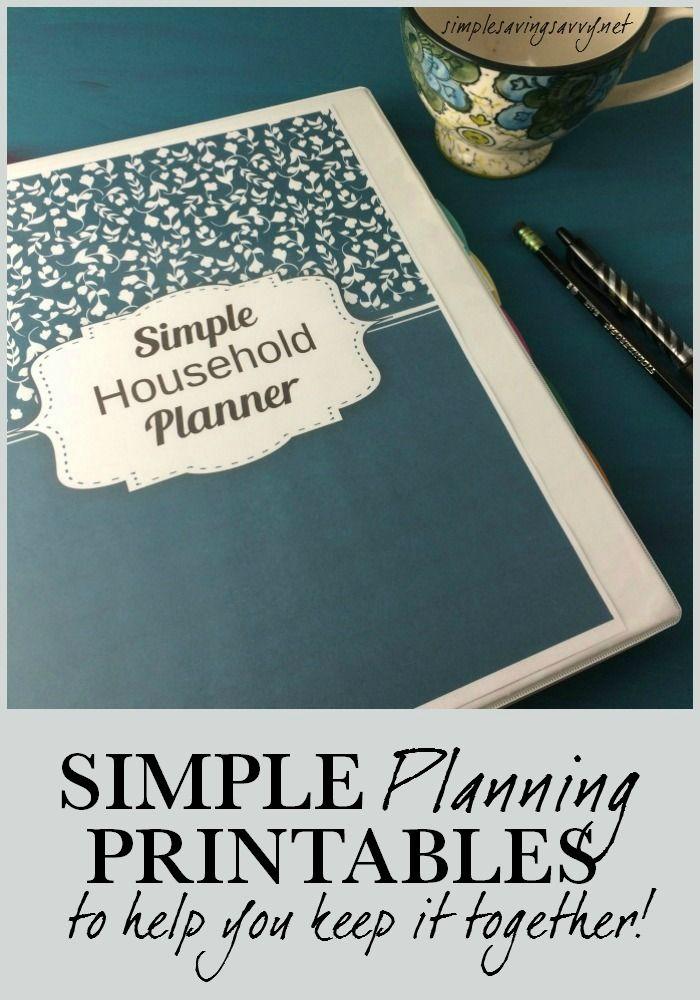 DIY Simple Household Planner | FREE Printable Planning Sheets