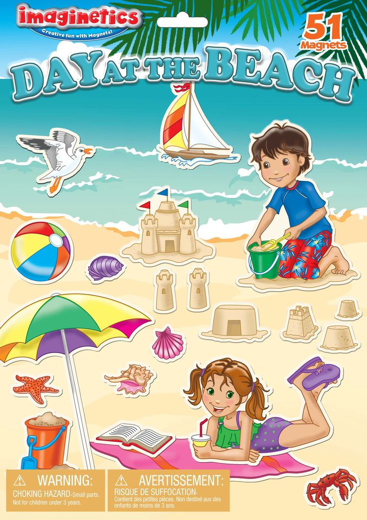 """Beach Magnetic Set from Imaginetics! Using 51 beach-themed magnets such as sand castles, sea shells and starfish, kids can create a story on the 18"""" x 1.75"""" magnetic playboard designed to look like an oceanfront beach scene. #beach #dayatthebeach #magnets #imaginetics"""