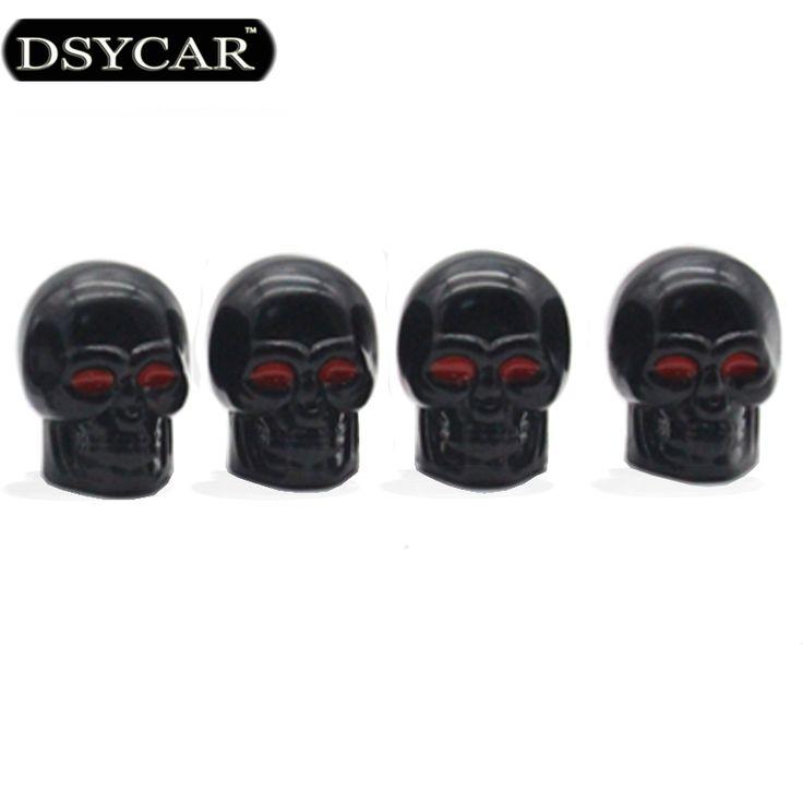 DSYCAR 4 Unids/lote Cráneo casquillos de válvula Del Coche del Neumático del neumático de Rueda de Coche Tapas de Automóviles Válvulas Stem Cubierta de Polvo Moto coche Bicicleta styling