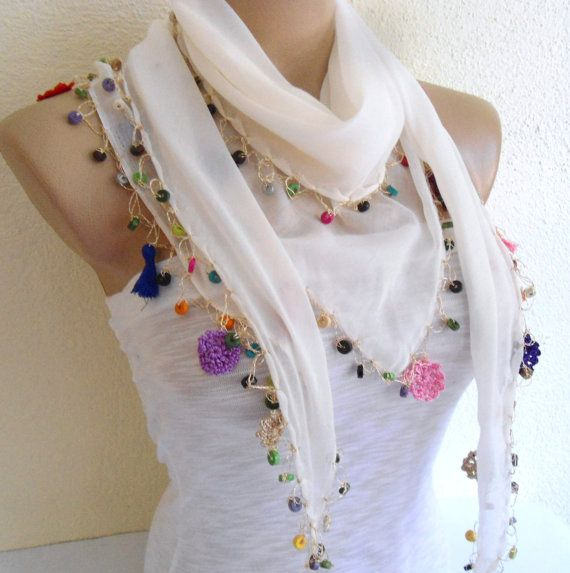 cotton scarf Necklace scarves Traditional by likeknitting on Etsy, $15.99