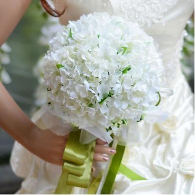 Friske Og Smukke Hvide Hortensia Brudebuketter Holder Bryllup Blomster