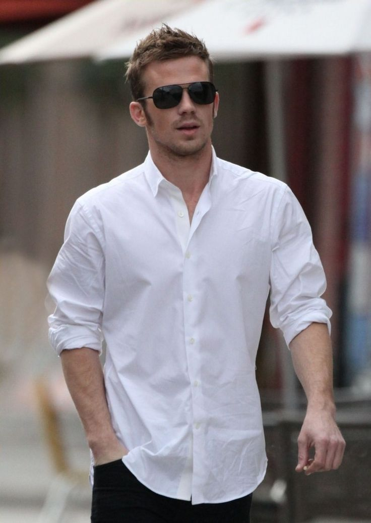 a relaxed way to wear a great white shirt