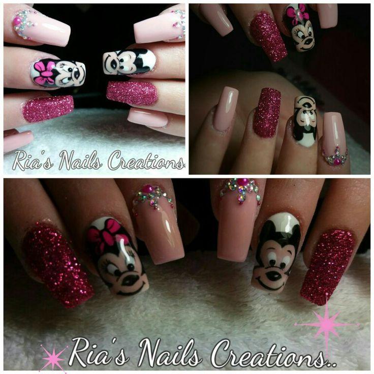 Minnie Mickey Mouse nail art