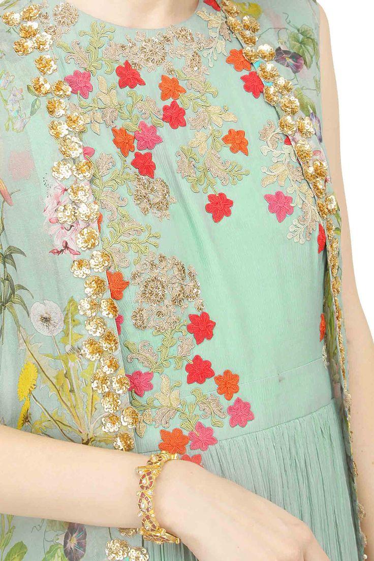 Anarkali with printed jacket and churidar