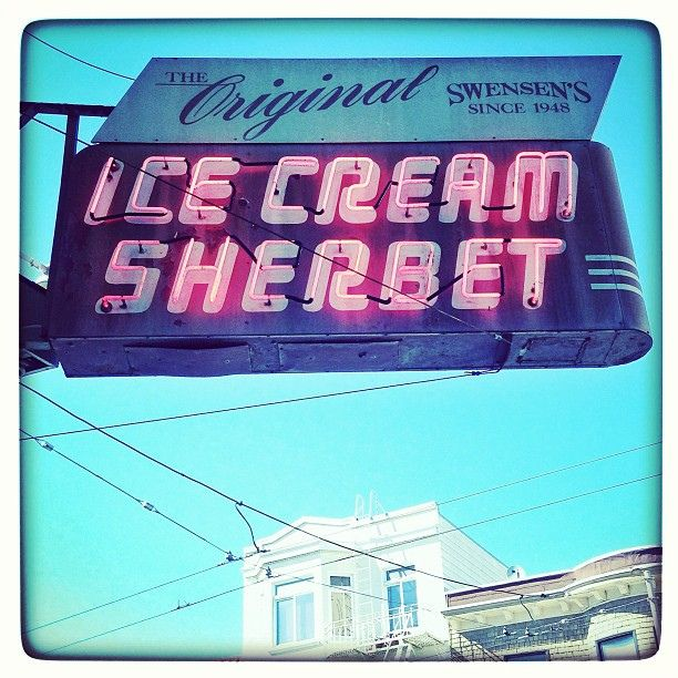 "In San Francisco -- the vintage neon sign for ""The Original Swensen's"" ice cream parlor 