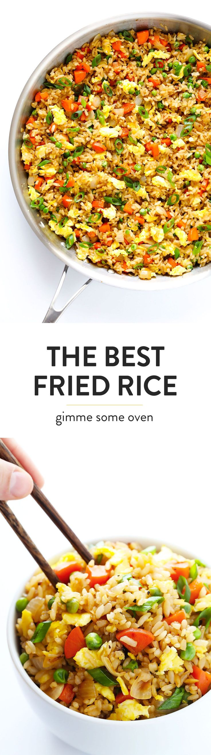 My all-time FAVORITE recipe for homemade fried rice! It's quick and easy to make, full of great flavor, customizable (with pork, chicken, shrimp, you name it!), and TOTALLY delicious. Even better than Chinese restaurant take out! ;) | gimmesomeoven.com