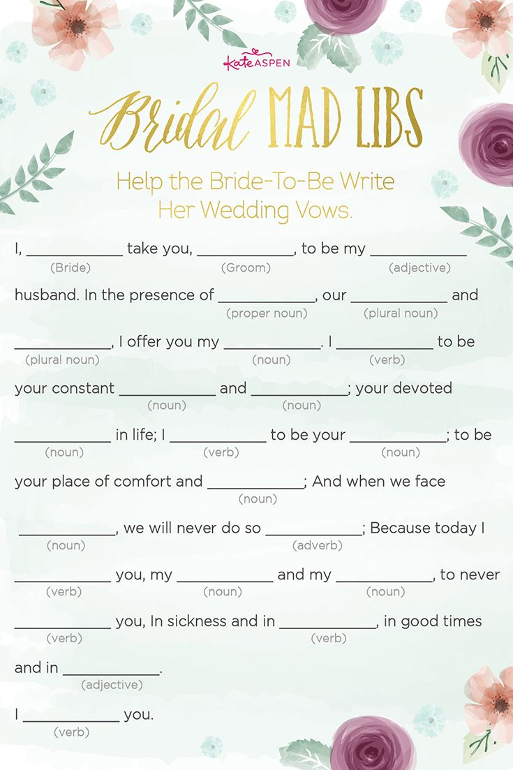 "In this extra special version of Mad Libs, each guest will ""help the bride-to-be write her wedding vows."" 