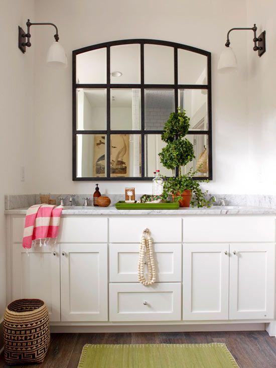 Bathroom Ideas   Like The Lights, Mirror And Double Sinks