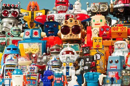 Foto: Eine farbenfrohe Versammlung sehr verschiedener Spielzeugroboter aus der Sammlung Berns © SDTB / C. Kirchner