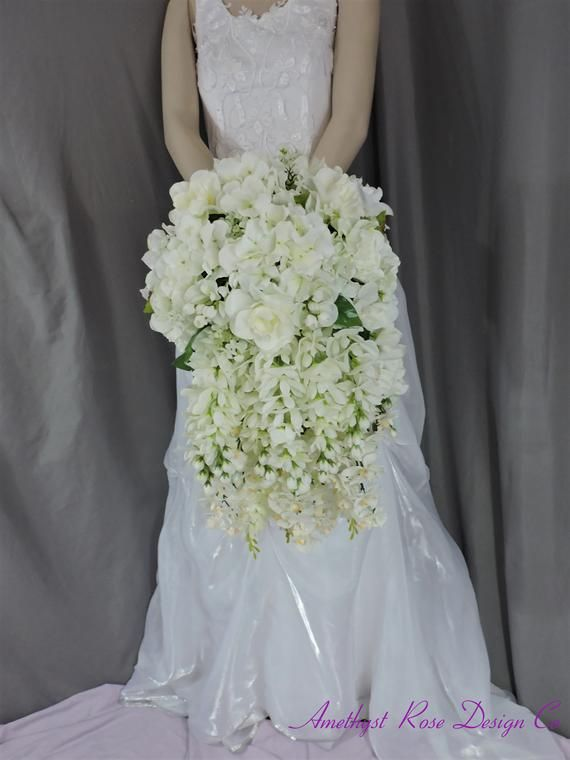 Stunning White Cascading Original Design Floral Silk Bridal