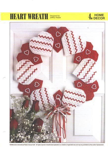 Heart Wreath Plastic Canvas Pattern