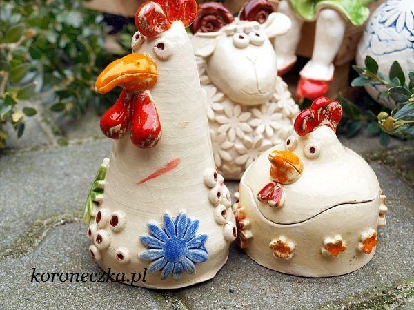 Koroneczka - frywolitki i ceramika: Ceramiczne pisanki i drób na Wielkanocny stół