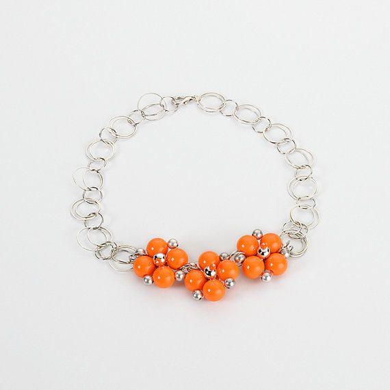 Collana  Flower Orange   OOAK di jewelrysoutache su Etsy, €15.00