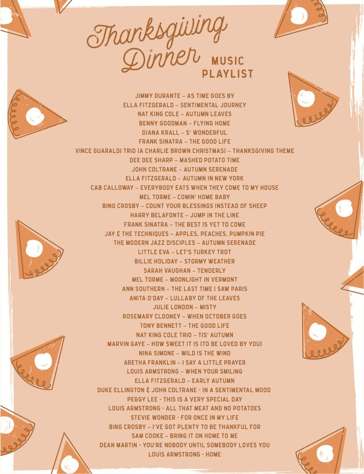 Printable Thanksgiving Dinner Playlist