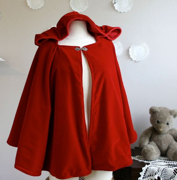 Red Riding Hood Cloak for adults Hooded cape in red wool or velvet