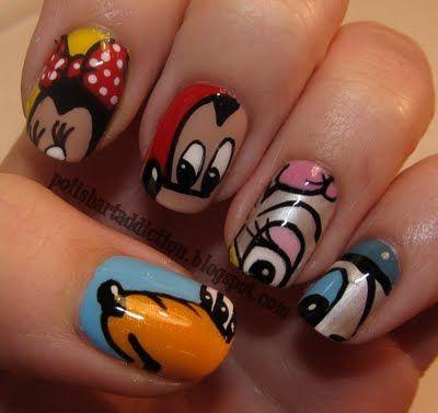 Mickey and Friends ManiPolish Art, Disney Nails Design, Fab Five, Nailart, Disneyland Trips, Awesome Disney, Mickey Mouse Nails, Nails Art Design, Disney Character
