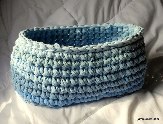 Baby Blue Chunky Oval upcycled t-shirt crochet basket by ShortMountain