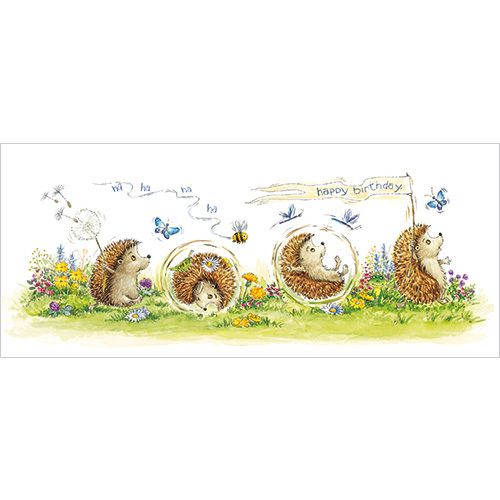 """CODE: L314 NAME: BIRTHDAY HEDGEHOGS PRICE: £1.75 Buy now: https://www.phoenix-trading.co.uk/web/km43704/area/shop-online/category/women/product/L314/birthday-hedgehogs/ Presentation: With a white 100 gsm, 100% recycled envelope. Blank for your own message. Paper Type: Gloss Varnish Artist: Gill Roberts Size: 8 1/4 x 3 1/2"""" : 210 x 90mm"""