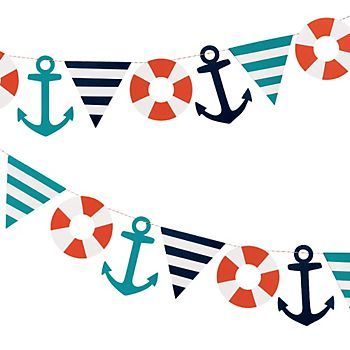 """would be really cute to do a spin on this on a pillow..do the anchors, flags, and life preservers as """"stripes"""" across a horizontal rectangle pillow"""