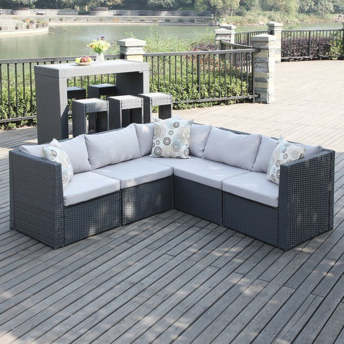 lachesis patio sectional with cushions backyard patio furniture rh pinterest com
