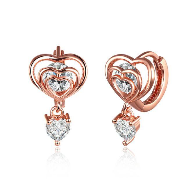 Мода Любовь Femme Brincos Bijoux Сердце Из Розового Золота С Блестящими КАМНЯМИ Женщин Пирсинг Клип на Серьги Для Свадьбы Ювелирных Изделий