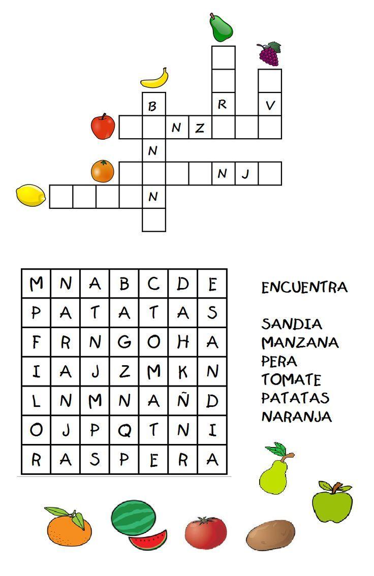 Pasatiempos Y Crucigramas Pasatiempos Para Niños Con Frutas Crusigramas Para Niños Crucigrama Para Niños Letras Para Niños