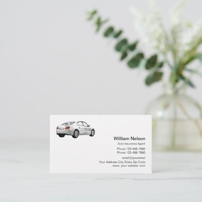 Professional Auto Insurance Agent Business Card Zazzle Com