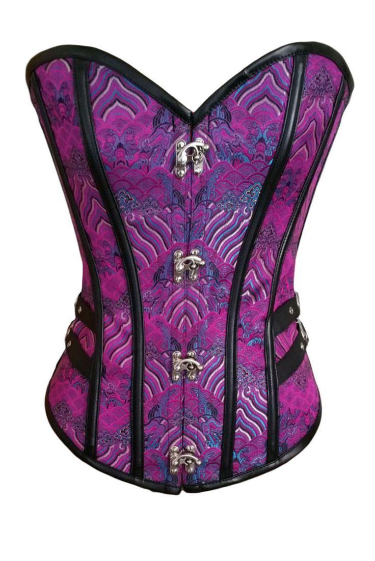 2pcs 14 Steel Bones Buckle Sides Lace up Purple Overbust Corset