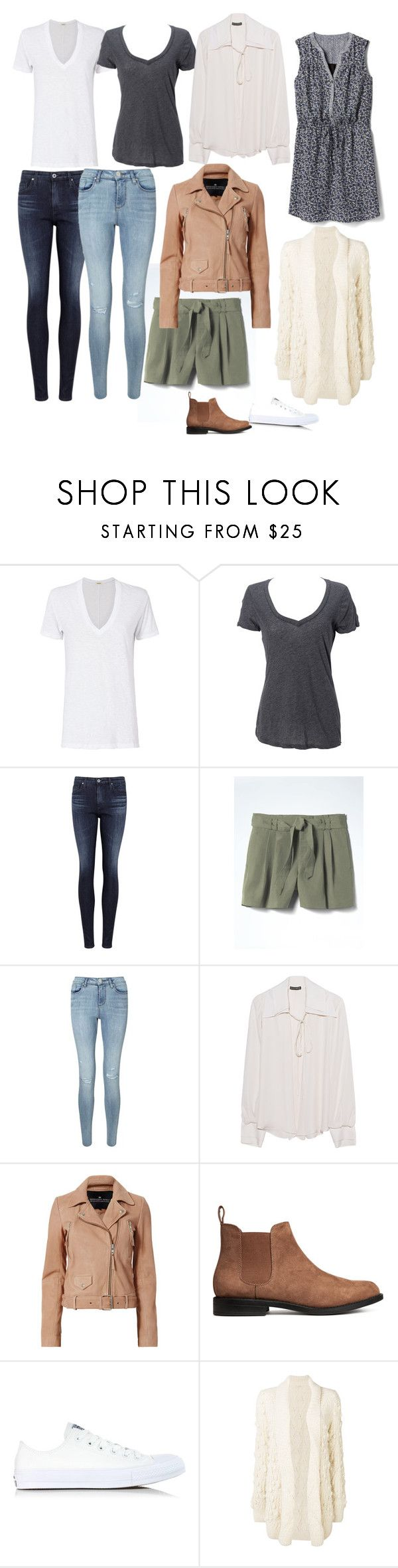 """""""I own 9 pieces of clothing"""" by cheryl-eisenschmid on Polyvore featuring Monrow, Simplex Apparel, AG Adriano Goldschmied, Banana Republic, Miss Selfridge, Plein Sud, Designers Remix, Converse, Ulla Johnson and Gap"""