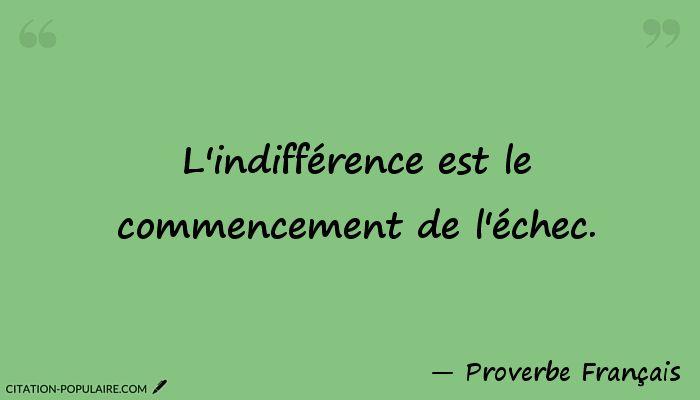 Citation L'indifférence est le commencement de l'échec.