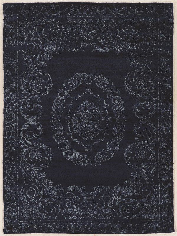 Feliciana  Silk Hand-Tufted Navy Area Rug