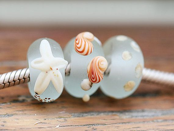 Lampwork glass beads large hole beads  Seaglass look by MayaHoney, $16.50